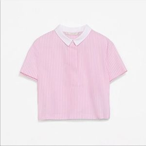 Pinstripe Collared Top